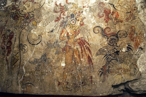 Maja freskó a kozmosz teremtéséről (San Bartolo, Mexikó)
