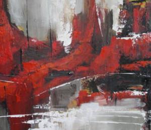Gabriela Mensaque: Abstracto en gris y rojo