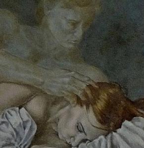 """Laura den Hertog """"Morfeusz karjaiban"""" című olajfestménye"""